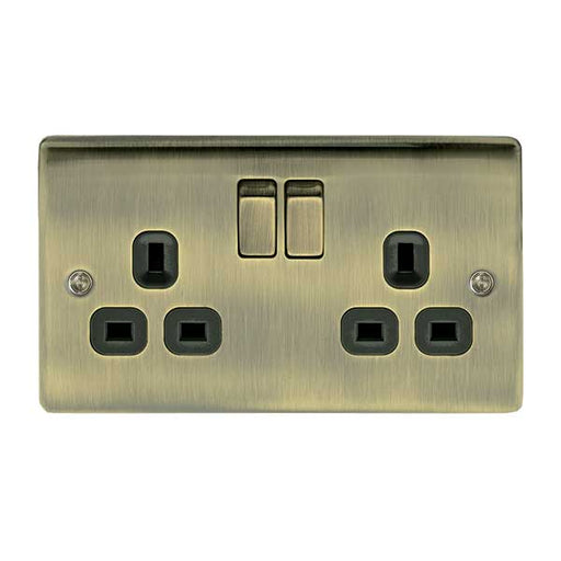BG Nexus NAB22B Metal Antique Brass 2 Gang Switched 13A Socket - BG - Sparks Warehouse