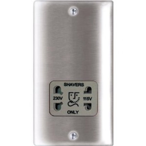 BG Nexus NBS20G Brushed Steel ShaverSocket 115/230V Dual Voltage Grey Insert