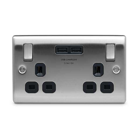 BG Nexus NBS22UB Brushed Steel 13A 2 Gang Switched Socket + USB - Black Inserts