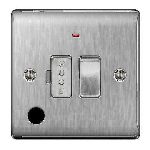 BG Nexus NBS53 Brushed Steel 13A FUSED Connection Unit Switched With Power Indicator FLEX Outlet