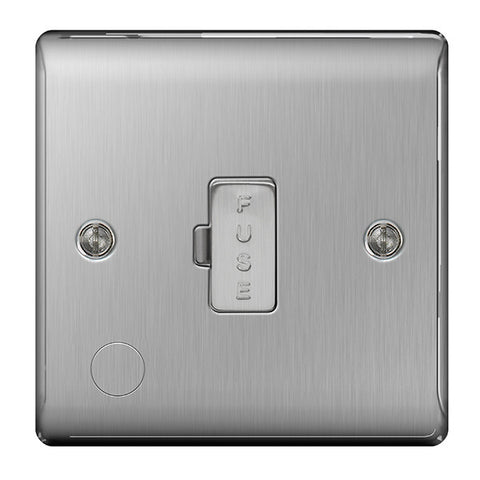 BG Nexus NBS55 Brushed Steel 13A FUSED Connection Unit Unswitched FLEX Outlet