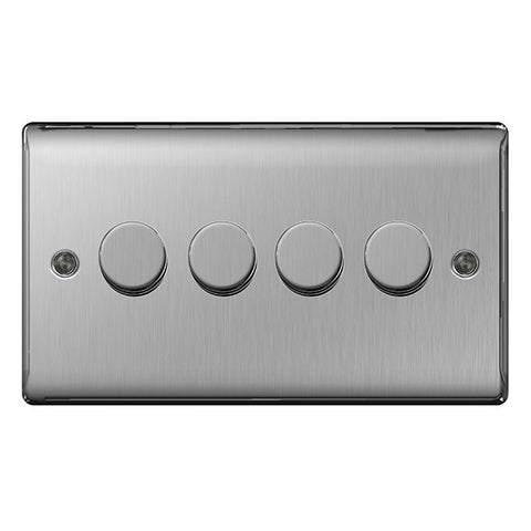 BG Nexus NBS84P Brushed Steel 400W 4 Gang 2 Way Push Dimmer