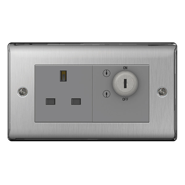 BG Nexus NBSKYSWSG Brushed Steel 13A, Double Pole Key Controlled Socket Outlet - BG - sparks-warehouse