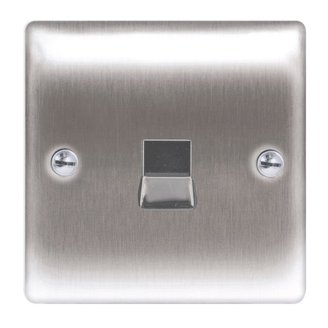 BG Nexus NBSRJ111 Brushed Steel 1 Gang RJ11 Telephone Socket