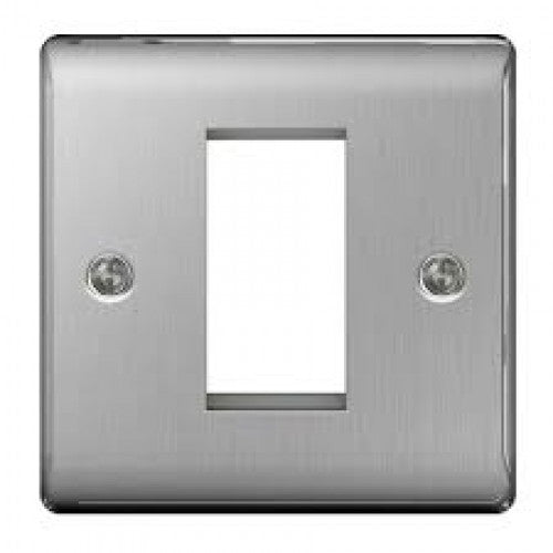 BG Nexus NBSEMS1 Brushed Steel 1 Module  Front Plate (25 X 50) - BG - sparks-warehouse