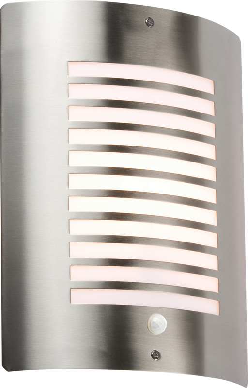Knightsbridge NH028S IP44 Stainless Steel Outdoor Wall Light With PIR Sensor - Knightsbridge - sparks-warehouse