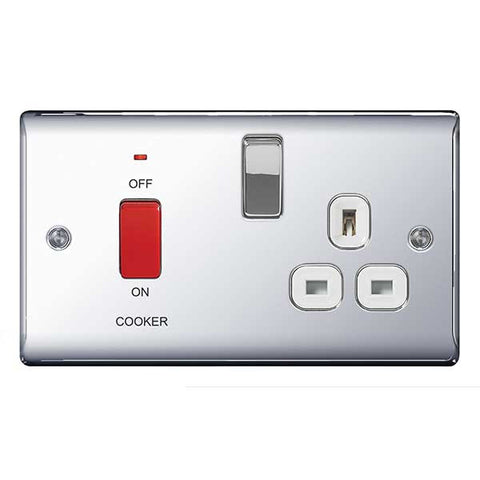 BG Nexus NPC70W Chrome 45A Cooker Connection Unit Switched Socket With Power Indicator