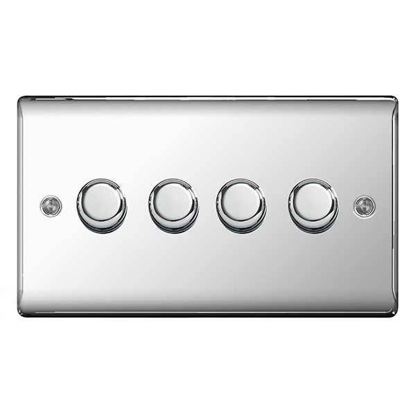 BG Nexus NPC84P Polished Chrome 400W 4 Gang 2 Way Push Dimmer - BG - sparks-warehouse