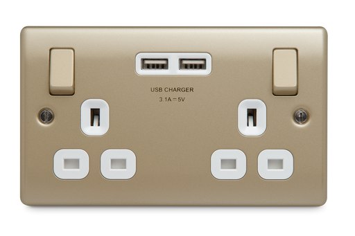 BG Nexus NPR22U3W Metal Pearl Nickel Double Plug Socket Switched 2 Gang White 2 x USB