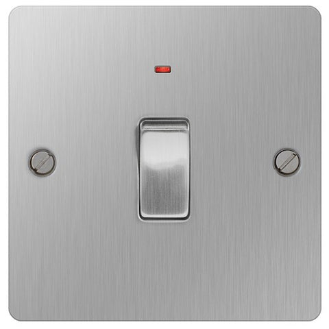 BG SBS31 Flat Plate Brushed Steel 20A Double Pole Switch With Neon