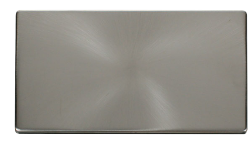 Scolmore SCP061BS - 2 Gang Blank Plate Cover Plate - Brushed Stainless - Scolmore - Sparks Warehouse