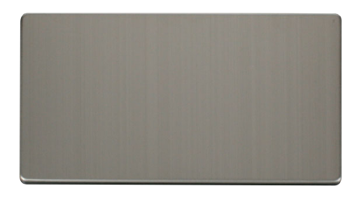 Scolmore SCP061SS - 2 Gang Blank Plate Cover Plate - Stainless Steel - Scolmore - Sparks Warehouse