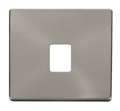 Scolmore SCP115BS - Single RJ11/RJ45 Socket Outlet Cover Plate - Brushed Stainless - Scolmore - Sparks Warehouse