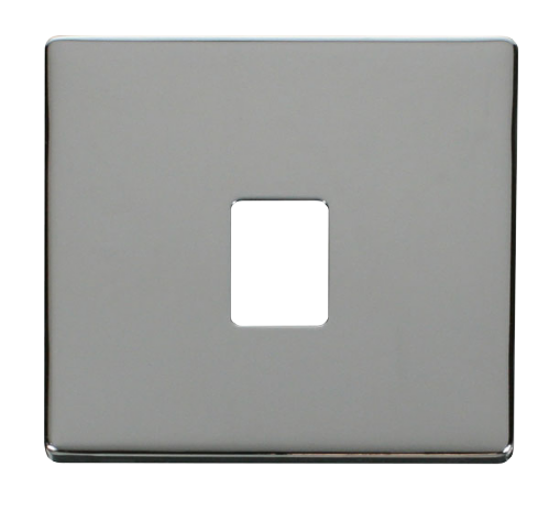Scolmore SCP115CH - Single RJ11/RJ45 Socket Outlet Cover Plate - Chrome - Scolmore - Sparks Warehouse