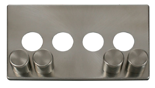 Scolmore SCP244BS - 4 Gang Dimmer Switch Cover Plate - Brushed Stainless - Scolmore - Sparks Warehouse