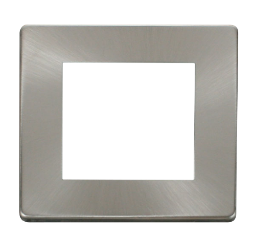 Scolmore SCP311BS - 1 Gang Plate Twin Media Module Cover Plate - Brushed Stainless - Scolmore - Sparks Warehouse