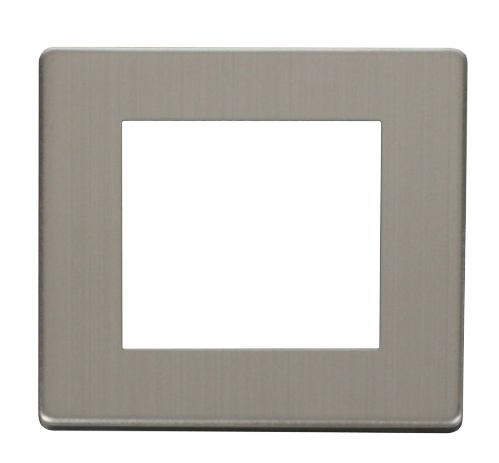 Scolmore SCP311SS - 1 Gang Plate Twin Media Module Cover Plate - Stainless Steel - Scolmore - Sparks Warehouse