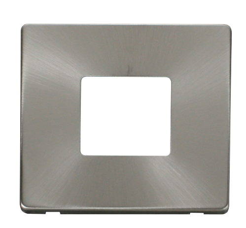 Scolmore SCP402BS - 1 Gang Twin Aperture Cover Plate - Brushed Stainless - Scolmore - Sparks Warehouse