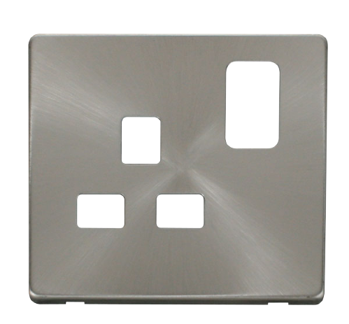 Scolmore SCP435BS - 1 Gang 13A Switched Socket Cover Plate - Brushed Stainless - Scolmore - Sparks Warehouse