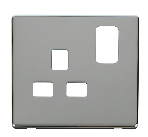 Scolmore SCP435CH - 1 Gang 13A Switched Socket Cover Plate - Chrome - Scolmore - Sparks Warehouse