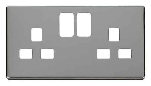 Scolmore SCP436CH - 2 Gang 13A Switched Socket Cover Plate - Chrome - Scolmore - Sparks Warehouse