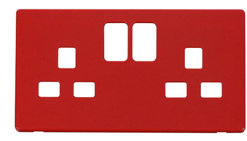 Scolmore SCP436RD - 2 Gang 13A Switched Socket Cover Plate - Red - Scolmore - Sparks Warehouse