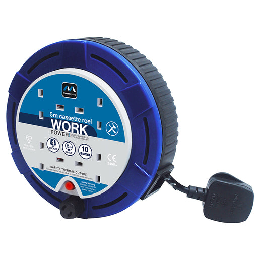 BG SCT0510/4BL 10A 5M 4 Gang Cassette Cable Reel in Blue