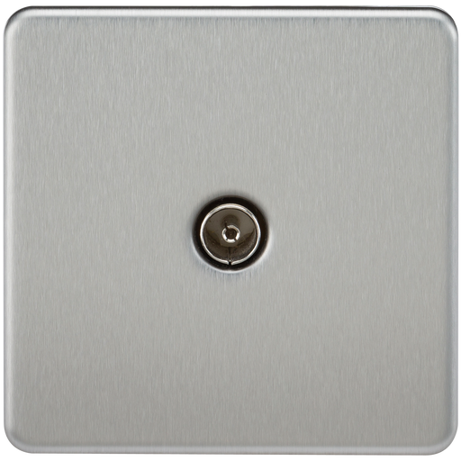 Knightsbridge SF0100BC Screwless 1G TV Outlet (NON-ISOLATED) - Brushed Chrome - Knightsbridge - sparks-warehouse