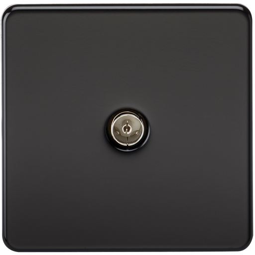Knightsbridge SF0100MB Screwless 1G TV Outlet (NON-ISOLATED) - Matt Black