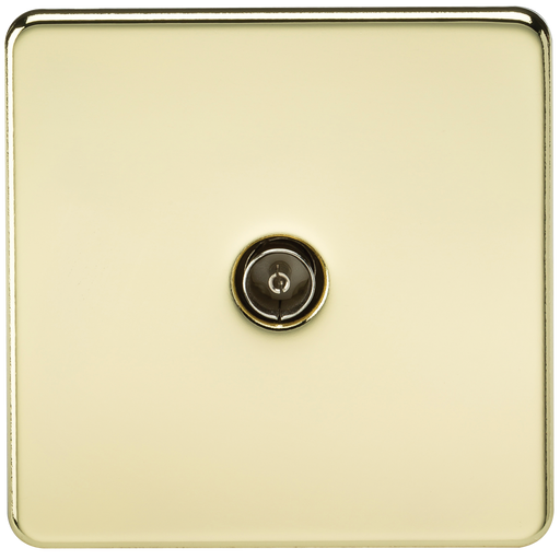 Knightsbridge SF0100PB Screwless 1G TV Outlet (NON-ISOLATED) - Polished Brass - Knightsbridge - sparks-warehouse