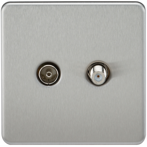 Knightsbridge SF0140BC Screwless TV & SAT TV Outlet (ISOLATED) - Brushed Chrome
