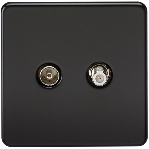 Knightsbridge SF0140MB Screwless TV & SAT TV Outlet (ISOLATED) -  Matt Black