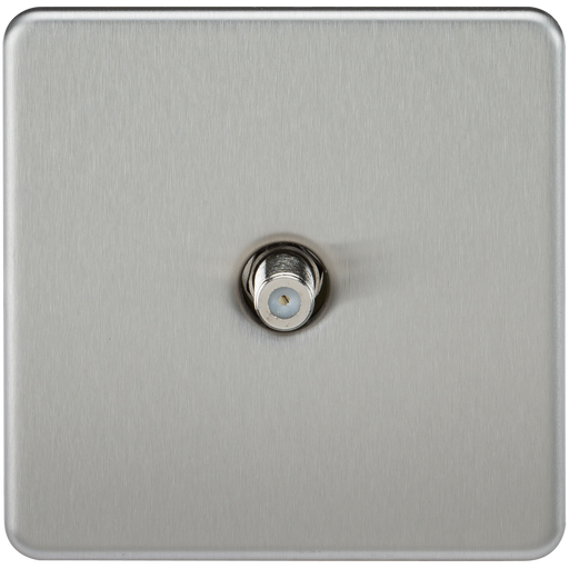 Knightsbridge SF0150BC Screwless 1G SAT TV Outlet (NON-ISOLATED) - Brushed Chrome
