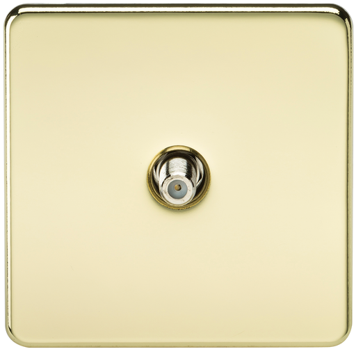 Knightsbridge SF0150PB Screwless 1G SAT TV Outlet (NON-ISOLATED) - Polished Brass