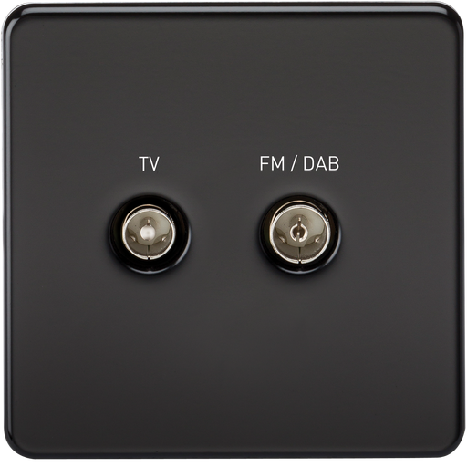 Knightsbridge SF0160MB Screwless SCREENED DIPLEX Outlet (TV & FM DAB) -  Matt Black