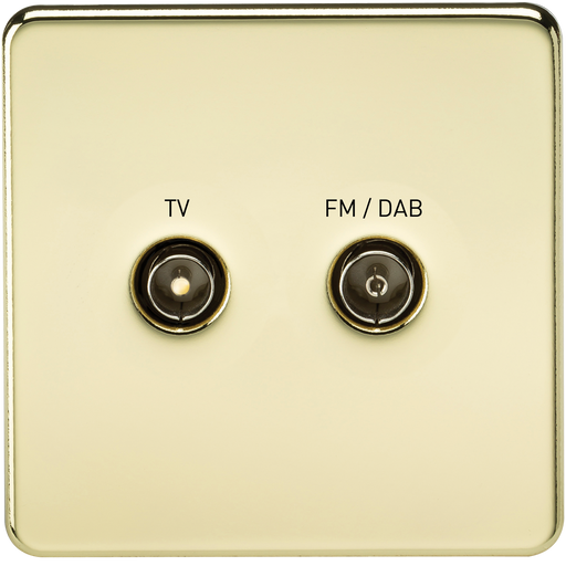 Knightsbridge SF0160PB Screwless SCREENED DIPLEX Outlet (TV & FM DAB) - Polished Brass