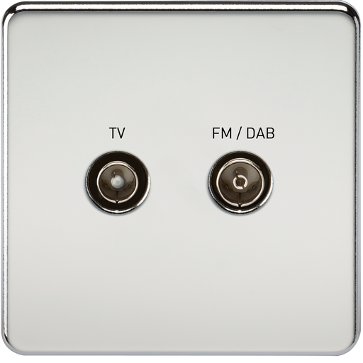 Knightsbridge SF0160PC Screwless SCREENED DIPLEX Outlet (TV & FM DAB) - Polished Chrome