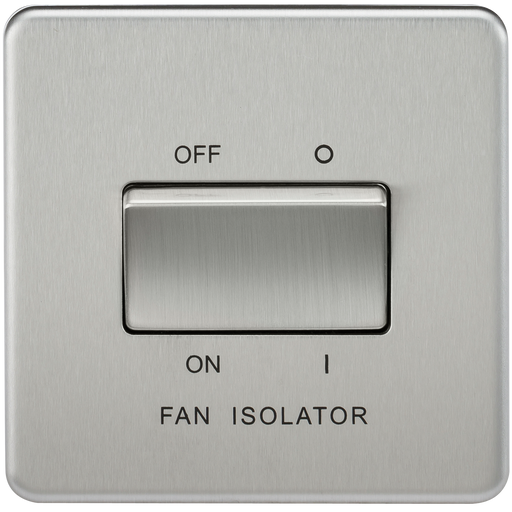 Knightsbridge SF1100BC Screwless 10A 3 POLE Fan Isolator Switch - Brushed Chrome - Knightsbridge - sparks-warehouse