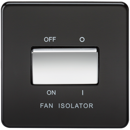 Knightsbridge SF1100MB Screwless 10A 3 POL Fan Isolator Switch - Matt Black W/Chrome Rocker