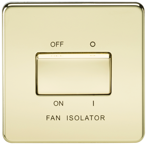 Knightsbridge SF1100PB Screwless 10A 3 POLE Fan Isolator Switch - Polished Brass