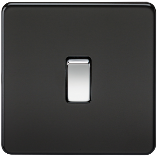 Knightsbridge SF1200MB Screwless 10A 1G INTERMEDIATE Switch - Matt Black W/Chrome Rocker