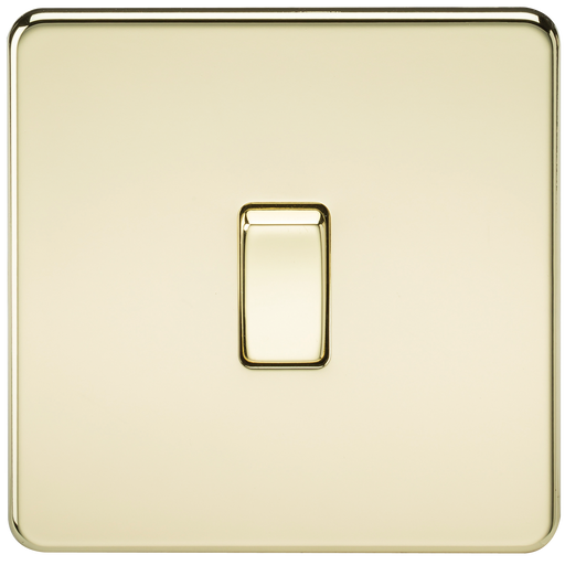 Knightsbridge SF1200PB Screwless 10A 1G INTERMEDIATE Switch - Polished Brass