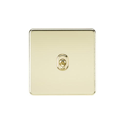 Knightsbridge SF1TOGPB 10A 1G 2 Way Toggle Switch - Polished Brass