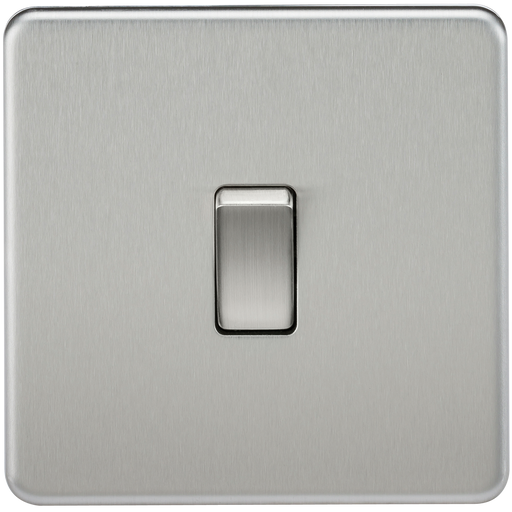 Knightsbridge SF2000BC Screwless 10A 1G 2 WAY Switch - Brushed Chrome