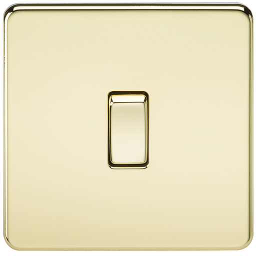 Knightsbridge SF2000PB Screwless 10A 1G 2 WAY Switch - Polished Brass - Knightsbridge - sparks-warehouse