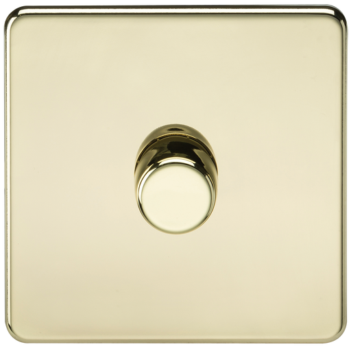 Knightsbridge SF2181PB Flat Plate Screwless 1G Dimmer 60-400W - Polished Brass - Knightsbridge - sparks-warehouse