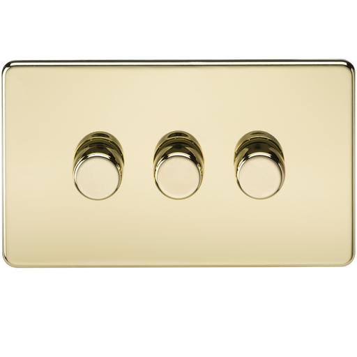 Knightsbridge SF2163PB Screwless 3G 2 WAY Dimmer 60-400W - Polished Brass