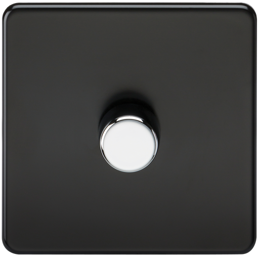 Knightsbridge SF2171MB Screwless 1G 2 Way 40-400W Dimmer Switch - Matt Black Chrome Knob