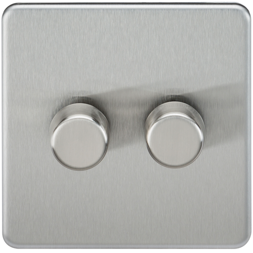 Knightsbridge SF2182BC Screwless 2G 2 WAY 200W Dimmer Switch - Brushed Chrome