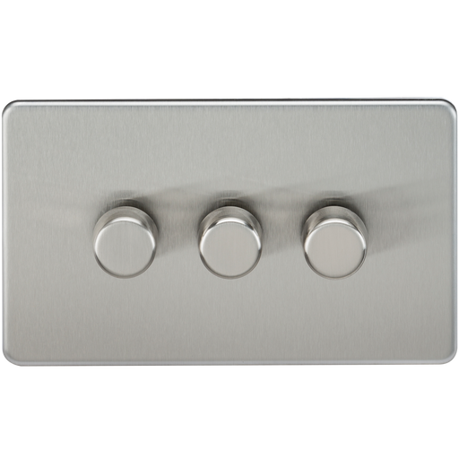 Knightsbridge SF2173BC Screwless 3G 2 WAY 40-400W Dimmer Switch - Brushed Chrome